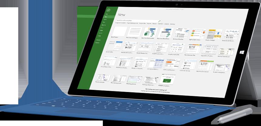 Tablet Microsoft Surface che visualizza la finestra Nuovo progetto in Project 2016.
