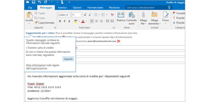 Suggerimento per i criteri in un'e-mail, che impedisce agli utenti di inviare informazioni riservate.