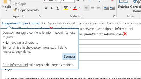 Dettaglio di un suggerimento per i criteri in un messaggio di posta elettronica che ha lo scopo di impedire agli utenti di inviare informazioni riservate.