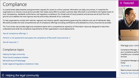 Pagina dei Microsoft Online Services che visualizza informazioni sulla conformità alle normative, leggi le domande frequenti