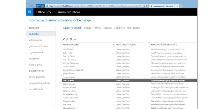 Pagina nell'interfaccia di amministrazione di Exchange, dove puoi gestire il sistema di e-mail.