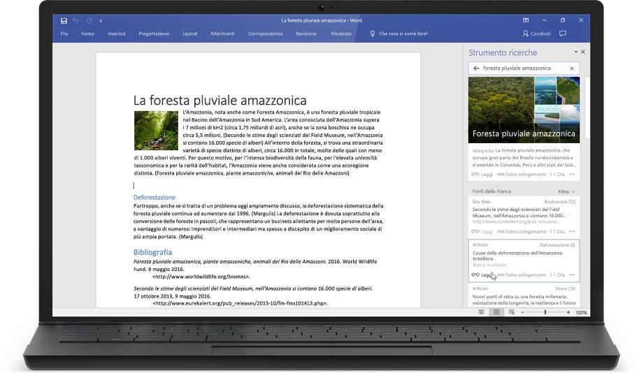 Laptop che visualizza un documento di Word e Strumento ricerche
