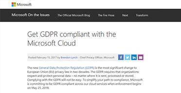 Screenshot del post di blog sul regolamento generale sulla protezione dei dati dell'Unione Europea, post di blog