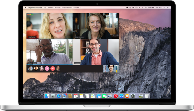 Computer Mac che visualizza una chiamata di Skype for Business in corso