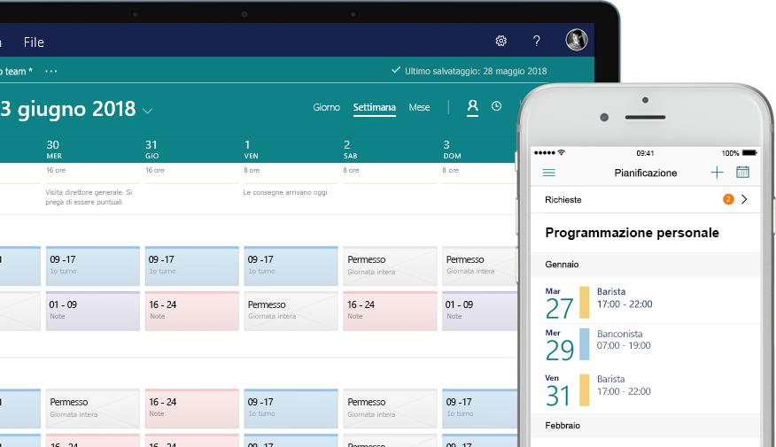 Desktop che visualizza una pianificazione e cellulare che mostra la schermata di attività con le attività assegnate e completate