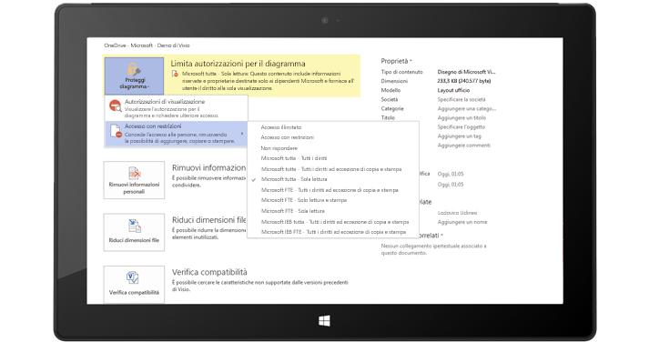 Tablet che visualizza una schermata di Visio con autorizzazioni limitate applicate a un diagramma di Visio