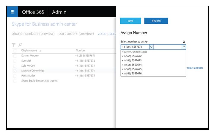 Schermo di un laptop che visualizza gli strumenti di amministrazione di Skype for Business Server