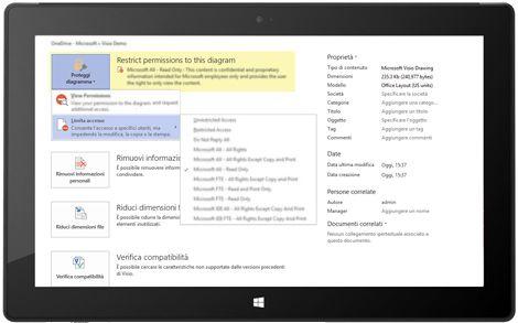 Tablet con la pagina Informazioni sul file in Visio e l'opzione Proteggi diagramma selezionata.
