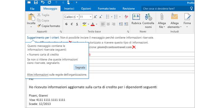 Primo piano di un'e-mail con un suggerimento per i criteri che impedisce l'invio di informazioni riservate.