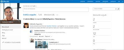 Screenshot di un newsfeed di SharePoint con l'opzione Condividi con tutti.