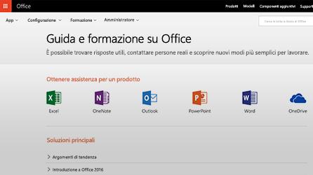 Screenshot di Guida e training su Office in Office 365