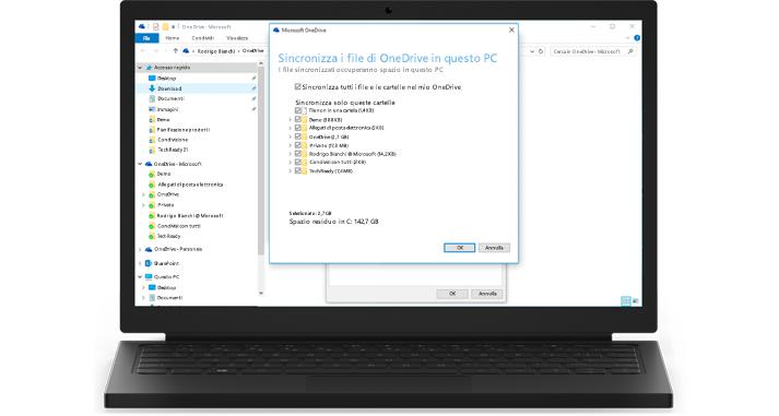 Portatile con un primo piano della caratteristica di sincronizzazione di OneDrive for Business