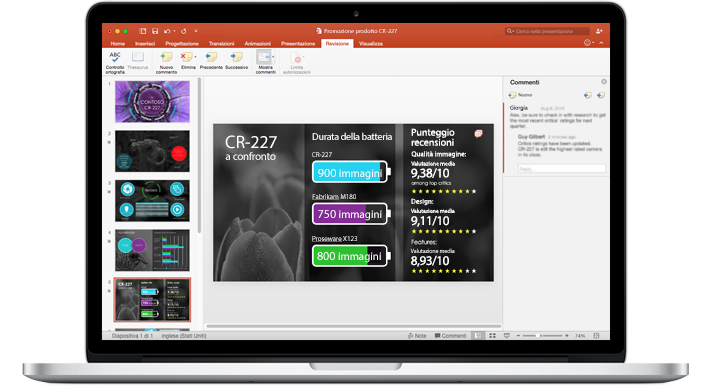 Portatile che visualizza le diapositive di una presentazione di PowerPoint realizzata in team.
