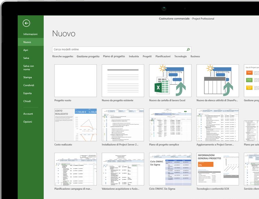 Dispositivo con il menu Nuovo file di Project aperto con le anteprime dei modelli