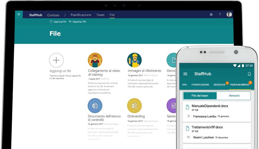 Desktop e cellulare che visualizzano lo stesso opuscolo per dipendenti