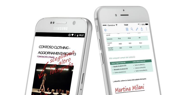 Due smartphone che visualizzano documenti e note scritte a mano