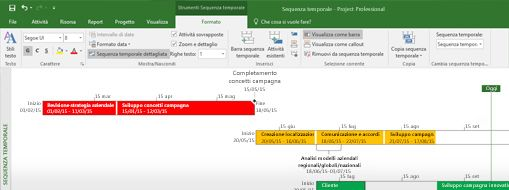 Screenshot di un file di progetto aperto in Project Professional