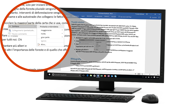Monitor di PC che visualizza un documento di Word con un primo piano della caratteristica Editor che suggerisce di sostituire una parola in una frase