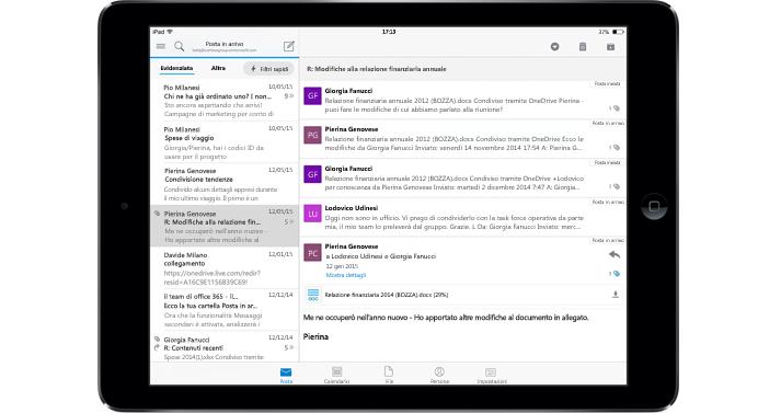 Tablet che mostra una cartella Posta in arrivo senza pubblicità con Office 365.