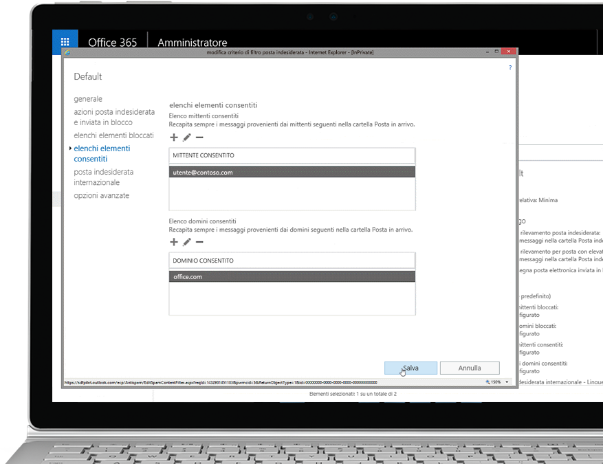 Tablet che visualizza la funzione per modificare i criteri di filtro della posta indesiderata nella console di amministrazione di Office 365, con mittenti e domini consentiti