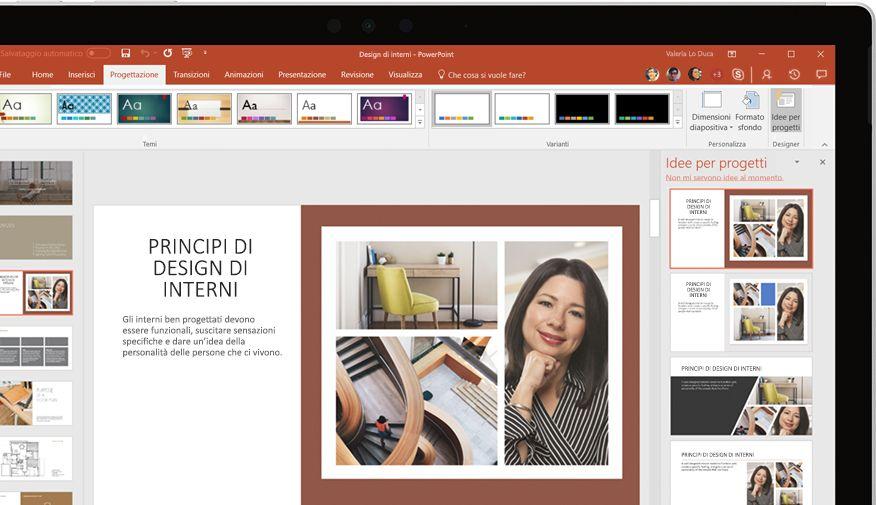 Presentazione di PowerPoint visualizzata in un dispositivo
