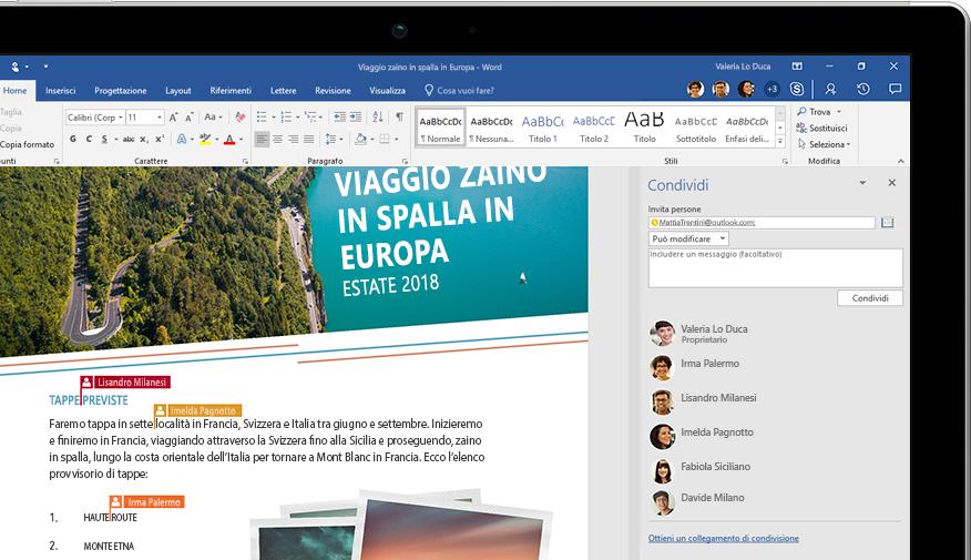Funzionalità Condividi di Word visualizzata su un laptop