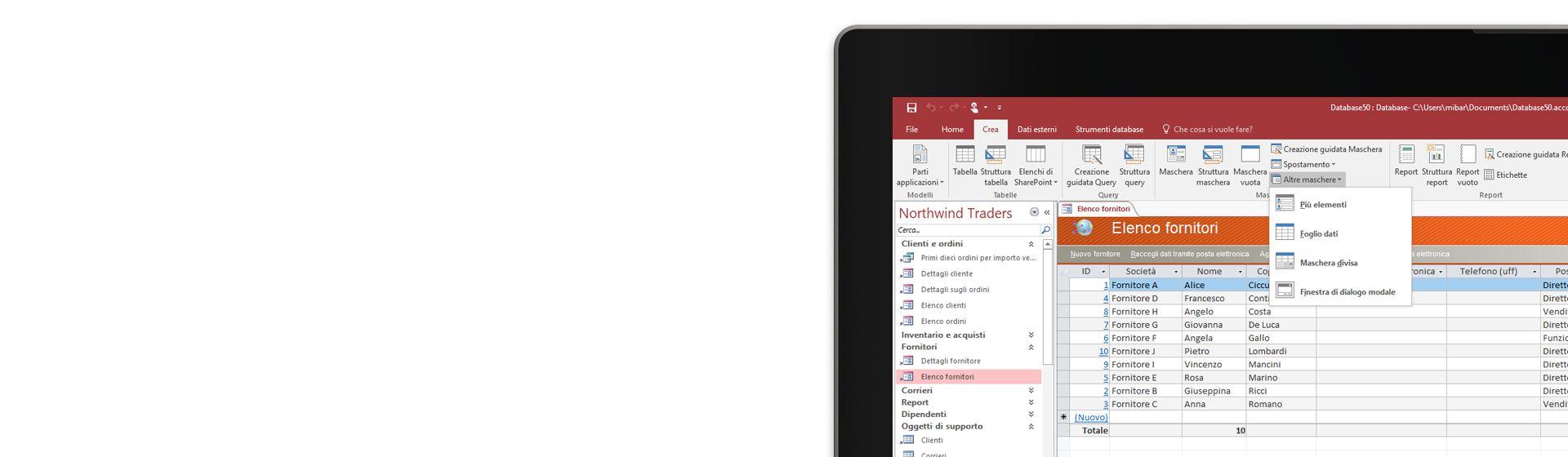 Angolo dello schermo di un computer che visualizza un elenco di fornitori in un database di Microsoft Access.