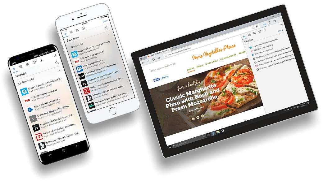 Telefoni iPhone e Android con Microsoft Edge sugli schermi a mostrare la funzionalità di sincronizzazione dei dati