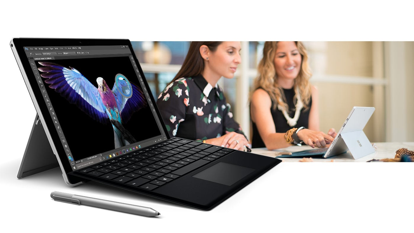 Surface Pro 4 with black keyboard open with Surface Pen next to it with an image of a woman looking at a Surface Pro 4 in tablet mode behind it
