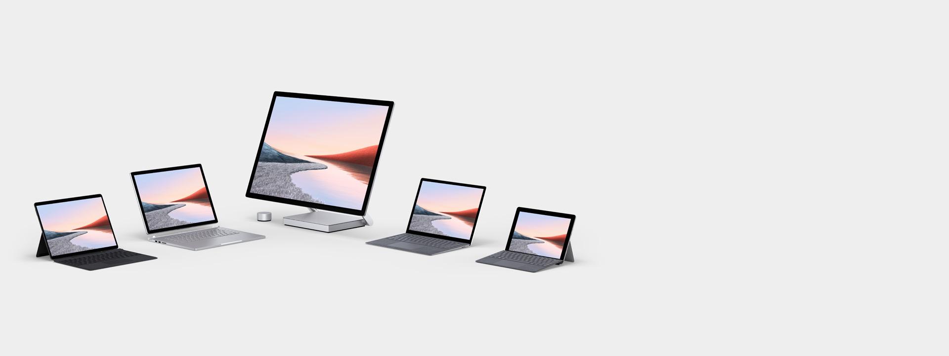 Esposizione di diversi computer Surface