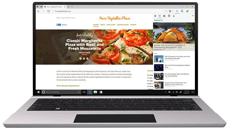 Hub Microsoft Edge con i contenuti preferiti visualizzati
