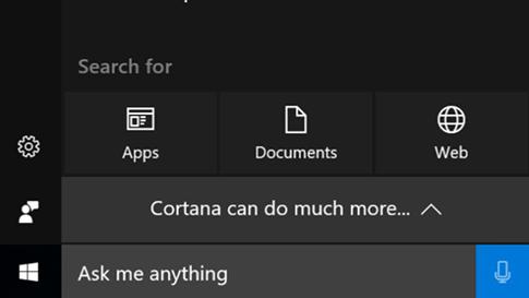 Schermata di Cortana per l'accesso