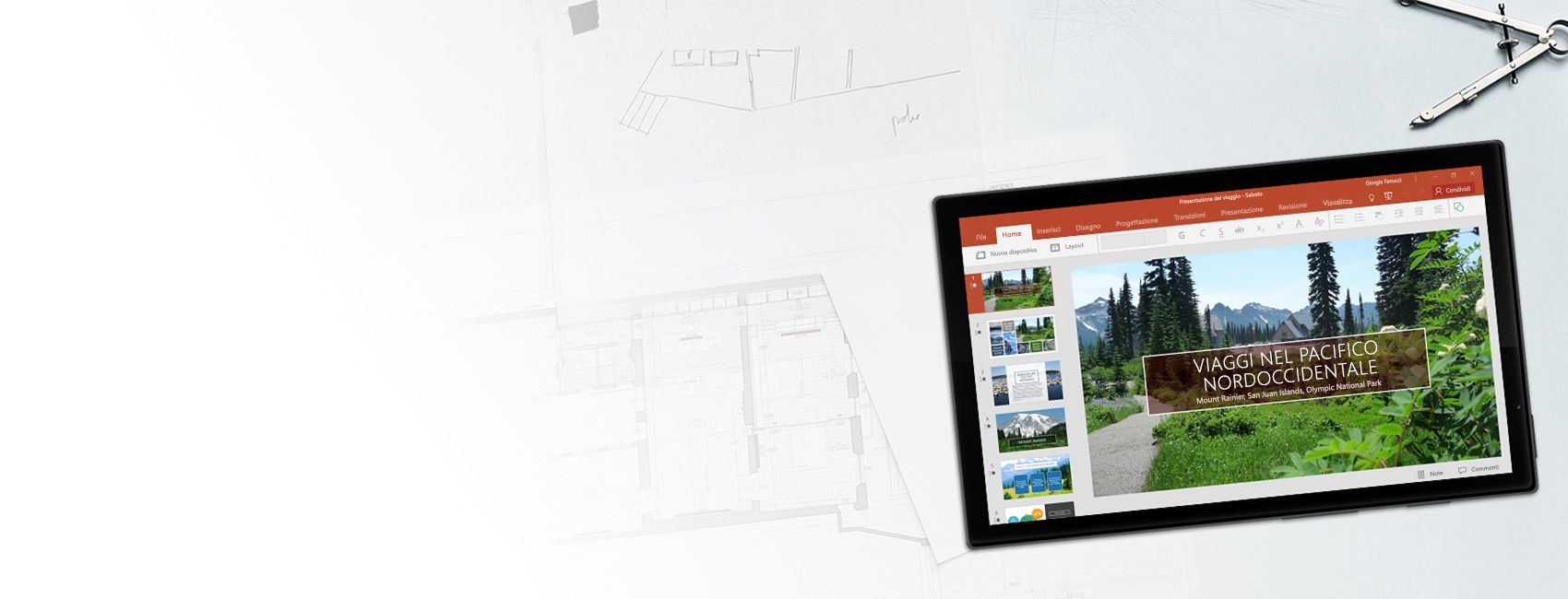 Tablet Windows che visualizza una presentazione di PowerPoint sui viaggi nel Pacifico nordoccidentale in PowerPoint per Windows 10 Mobile