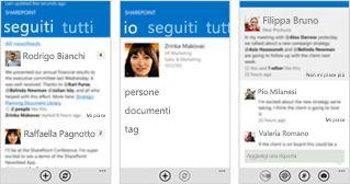 Tre screenshot di un newsfeed di SharePoint Online su dispositivi diversi.