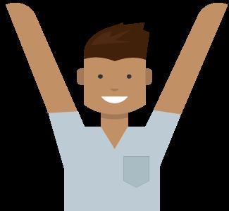 Uomo con le braccia in alto, sblocca i vantaggi del tuo account Microsoft