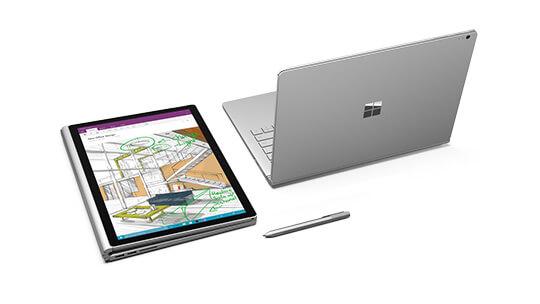 Vista del profilo laterale di Surface Pro 4
