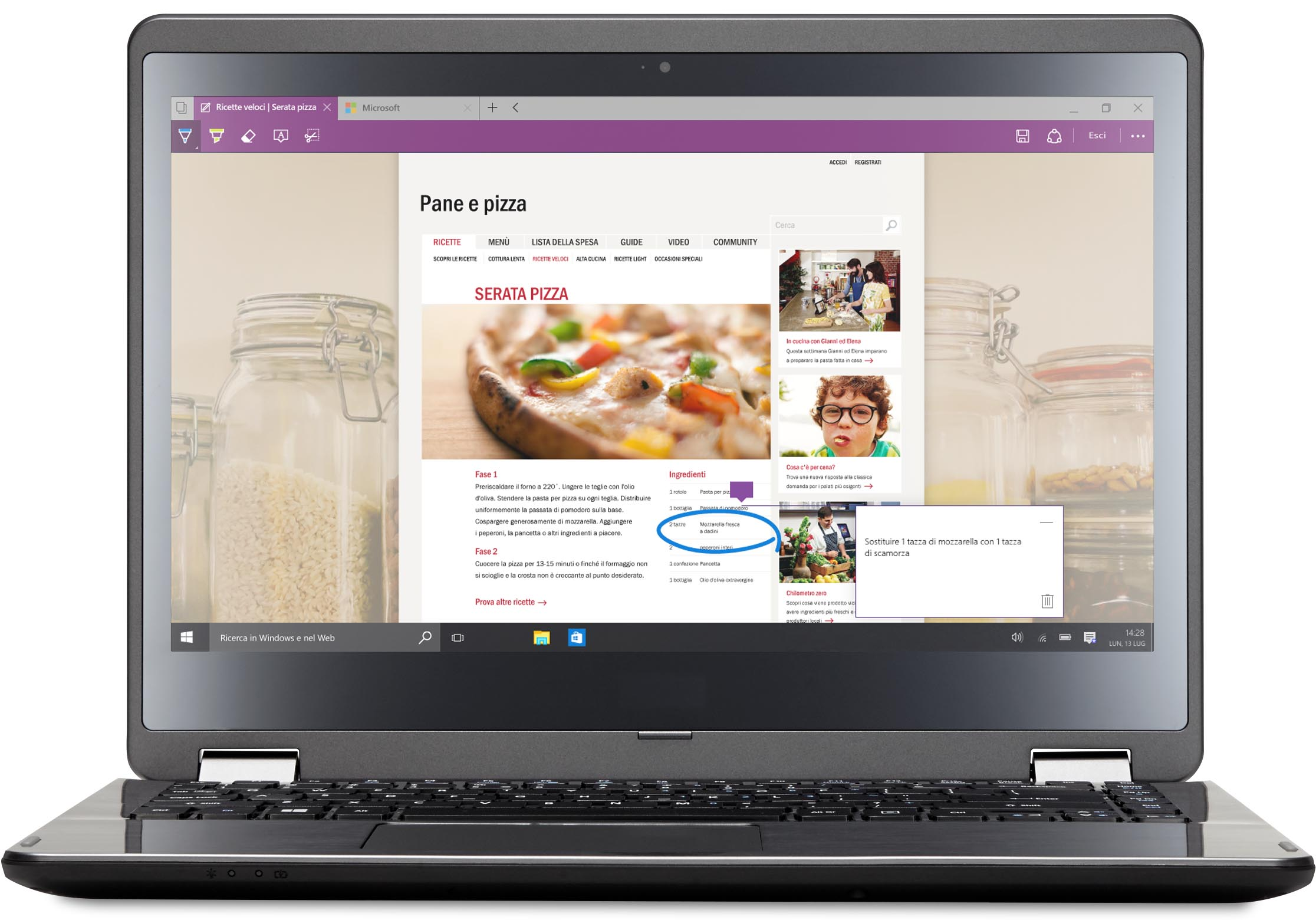 Laptop con Microsoft Edge