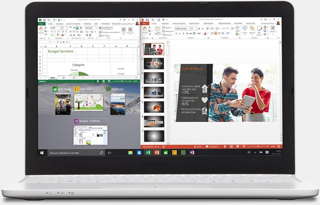 Laptop con due app affiancate