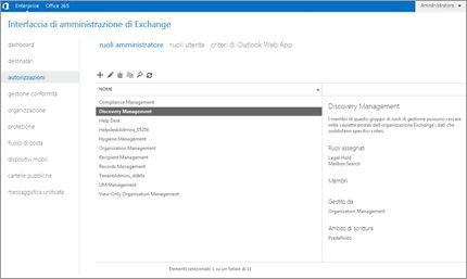 Cattura di schermata della pagina delle autorizzazioni nell'interfaccia di amministrazione di Exchange, dove è possibile gestire i ruoli di amministratore.