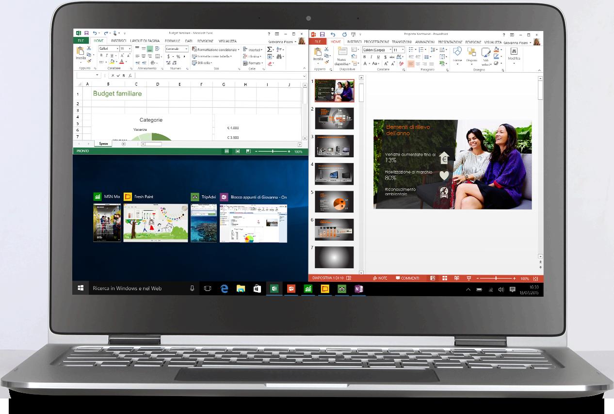 Laptop con tre app affiancate