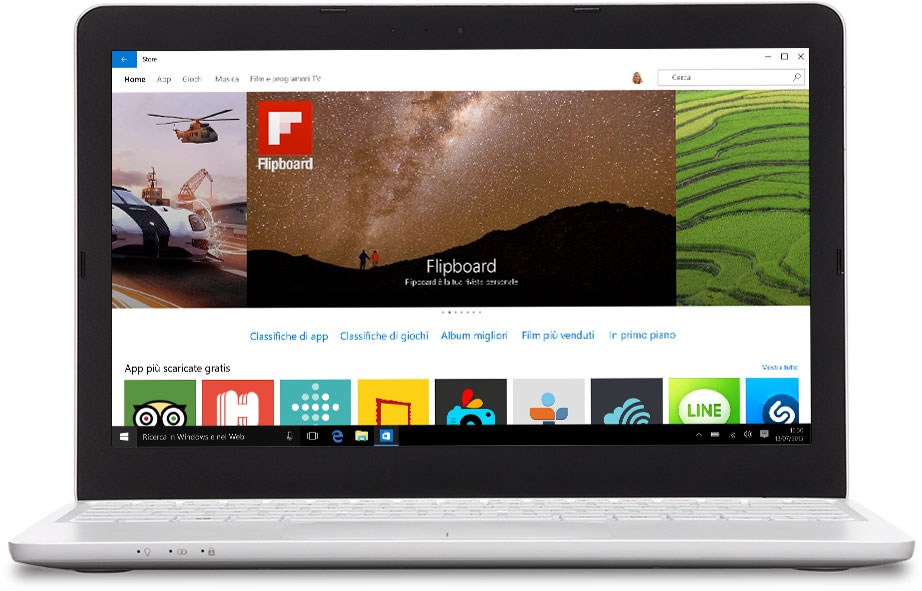 Laptop con Windows Store sullo schermo