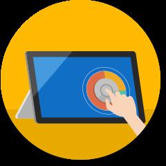コンピューター画面上の Surface Dial