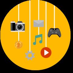 カメラ、音楽、ゲーム コントローラー、ファイル、動画再生ボタン