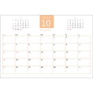 2019 年度カレンダー(2019 年 10 月始まり・ビジネス・ハガキサイズ)