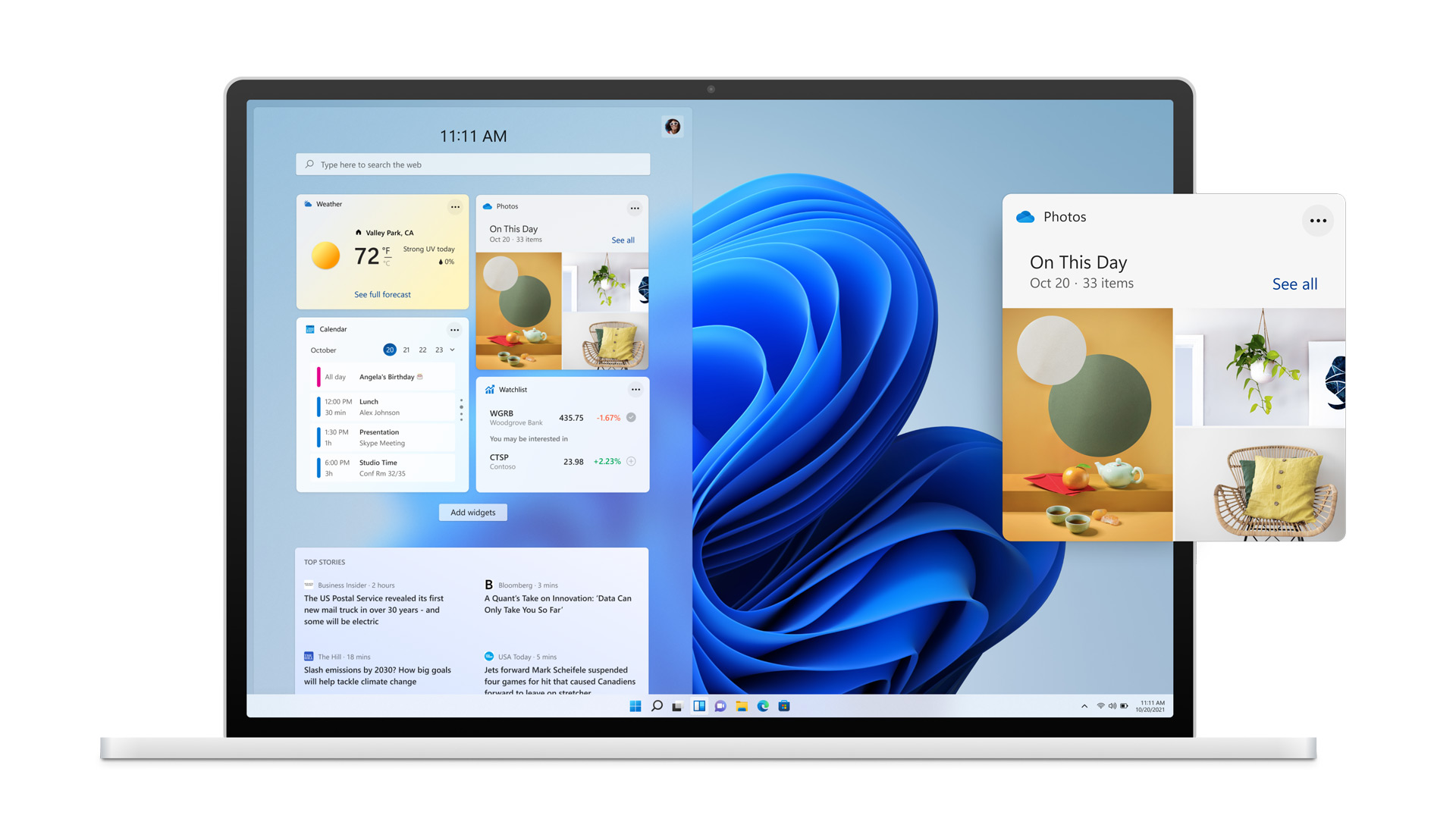 Windows 11 のウィジェットの画面