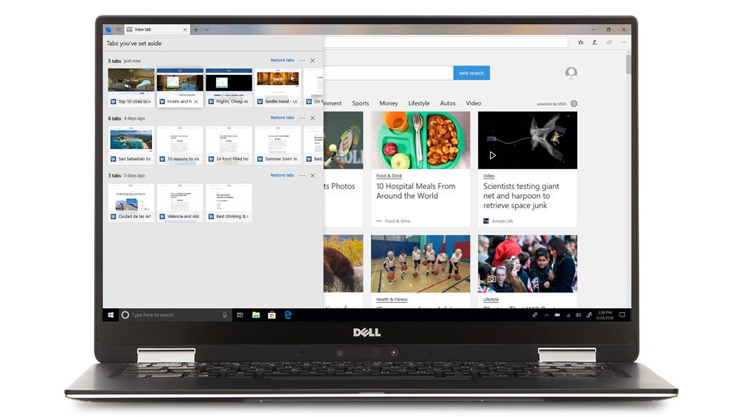Microsoft Edge 上で複数のタブを開いている Dell