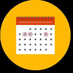 いくつかの日付に丸がつけられたカレンダー