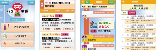 「バス予報」の画面例:左から、トップ メニュー、バス停での表示、現在のバスの位置、時刻表