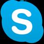 Skype ロゴ、Google Playe で Skype アプリをダウンロードする