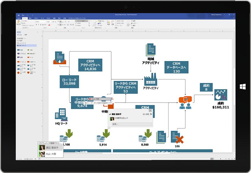 他のユーザーのコメントが追加されている共同作業中の Visio 図面が画面に表示されている Surface タブレット